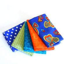 Pack of 5 100% Cotton Hippy Chic Blue Hearts Fat Quarters